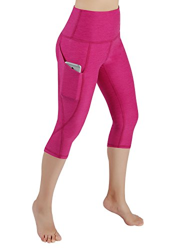 ODODOS High Waist Out Pocket Yoga Capris Pants Tummy Control Workout Running 4 Way Stretch Yoga Capris Leggings,Fuchsia,XX-Large