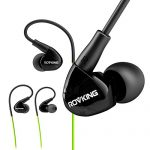 ROVKING Earbuds Headphones Over Ear Wired Sweatproof with Microphone, In Ear Stereo Bass Sport Earphones for Running Jogging Gym Workout for iPhone Android iPod Samsung, Black