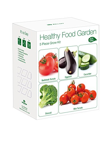 Indoor Healthy Food Garden Grow Kit | Grow Eggplant, Cucumber, Broccoli, Beefsteak Tomato & Mini Tomato From Seed | Complete Gardening Gift Kit To Plant Indoors | Exclusively By TotalGreen Holland