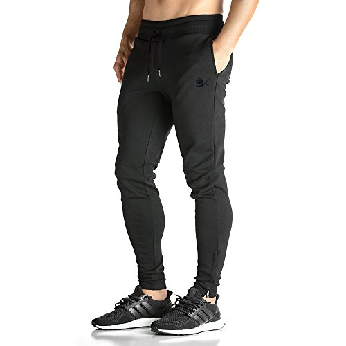 BROKIG Mens ZIP JOGGER Pants – Casual GYM Fitness Trousers Comfortable Tracksuit Slim Fit Bottoms Sweat Pants with Pockets (L, Black)