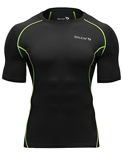 Baleaf Men's Short Sleeve Running Fitness Workout Compression Base Layer Shirt Color Green Size M