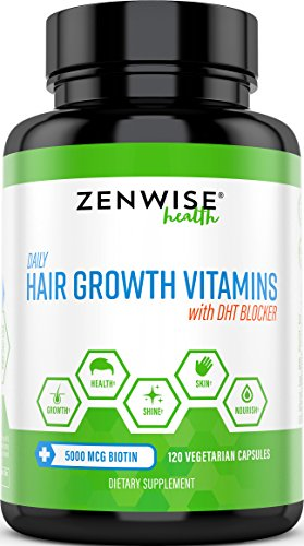 Hair Growth Vitamins Supplement – 5000 mcg Biotin & DHT Blocker Hair Loss Treatment for Men & Women – 2 Month Supply With Vitamin A & E to Stimulate Faster Regrowth + Care for Damaged Hair – 120 Pills