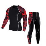 Men Sport Suit,Haoricu Clearance Man Fitness Sports Gym Pants+Shirt Running Yoga Athletic Jogger Sweatpants Tops (L, Red)
