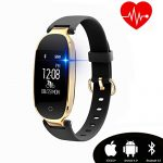 kingkok Elegant Waterproof Fitness Tracker for Women Smart Bluetooth Pedometer Watch Band Multi-mode Wireless Activity Tracker Bracelet [Black]