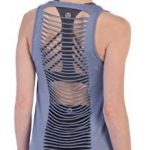 American Fitness Couture Womens Shredded Open Back Yoga Workout Top, Chambray XS/S