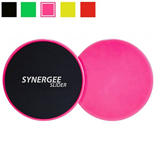 iheartsynergee Gliding Discs Core Sliders. Dual Sided Use on Carpet or Hardwood Floors. Abdominal Exercise Equipment (Power Pink)