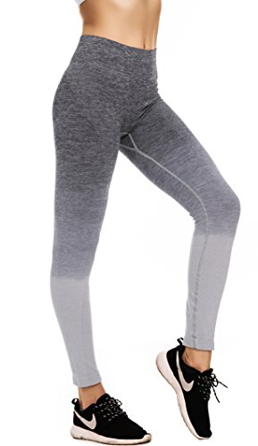 RUNNING GIRL Ombre Yoga Pants Performance Active Stretch Running Leggings(Grey,M)