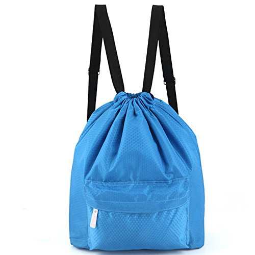 Zmart Dry Wet Separated Swimming Bag Portable Drawstring Backpack Waterproof Gym Sports Pool Beach Gear Bagpack for Men Women Boys and Girls – Blue