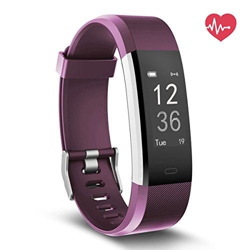 Delvfire Fitness Tracker HR, Activity Tracker with Heart Rate Monitor Watch, IP67 Waterproof Smart Wristband with Calorie Counter Watch Pedometer Sleep Monitor for Kids Women Men (Purple)