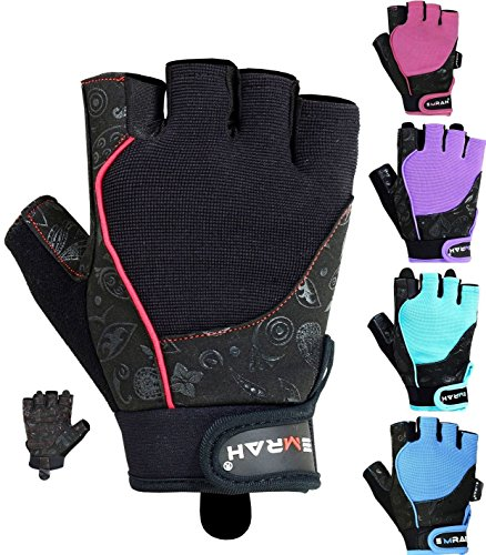EMRAH Gym Weight Lifting Gloves Women Workout Fitness Ladies Bodybuilding Crossfit Breathable Powerlifting Wrist Support Strength Training Exercise (Black, S (Fits 6.29 – 6.88 Inches))