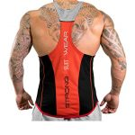 ICOOLTECH Men's Fitness Gym Muscle Cut Stringer Bodybuilding Workout Sleeveless Tank Top Shirts(US – Medium, Black and Red)