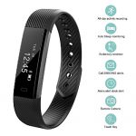 Bossblue Fitness Tracker, Smart Fitness Watch Touch Screen Activity Health Tracker Wearable Pedometer Smart Wristband Black