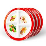 MyPlate Divided Kids Portion Plate, 4 Pack, 4 Fun & Balanced Sections for Picky Eaters