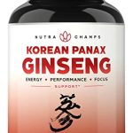 NutraChamps Korean Red Panax Ginseng 1000mg – 120 Vegan Capsules Extra Strength Root Extract Powder Supplement w/High Ginsenosides for Energy, Performance & Mental Health Pills for Men & Women