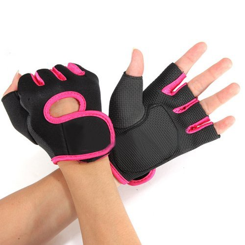 Flammi Women's Sport Cycling Fitness GYM Workout Exercise Half Finger Gloves (Pink)