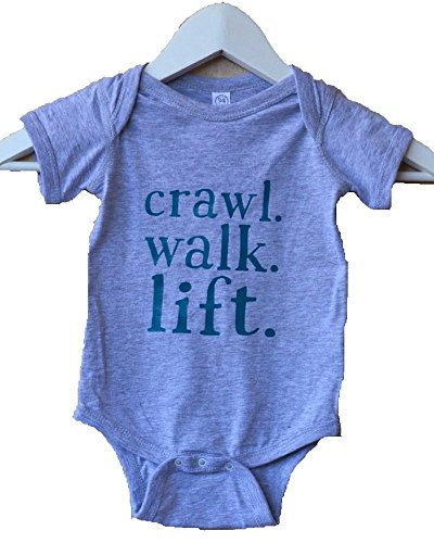Snatch & Run Crawl Walk Lift Baby Onesie Bodysuit (6 Months),Gray