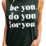 Chimikeey Womens Workout Tank Tops Graphic Sleeveless Casual Athletic Shirts with Saying Green X-Large