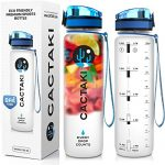 Green Sequoia Cactaki Best Sport Water Bottle BPA Free, 1 Liter/32 Oz, Non-Toxic, Clear Leak Proof, Time Marker To Track Drink, For Fitness and Outdoor, Men and Women