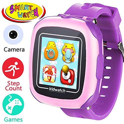 Kids Smart Watches with Games – 1.5″ Touch Fitness Activity Tracker Pedometer Step Count Wristwatch Digital Timer Alarm Stop Sports Clock Health Monitor Gifts for Boy Girl (Purple)