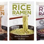 Lotus Foods Gluten Free Rice Ramen & Broth 3 Flavor 6 Bag Variety Bundle: (2) Buckwheat Mushroom Rice Ramen, (2) Wakame & Brown Rice Ramen, and (2) Purple Potato & Brown Rice Ramen, 2.8 Oz Ea (6 Tot)