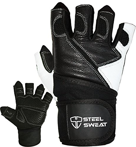 Steel Sweat Weightlifting Gloves with 18-inch Wrist Wrap Support for Workout, Gym and Fitness Training – Best for Men and Women Who Love Weight Lifting – Leather ZED Black Large