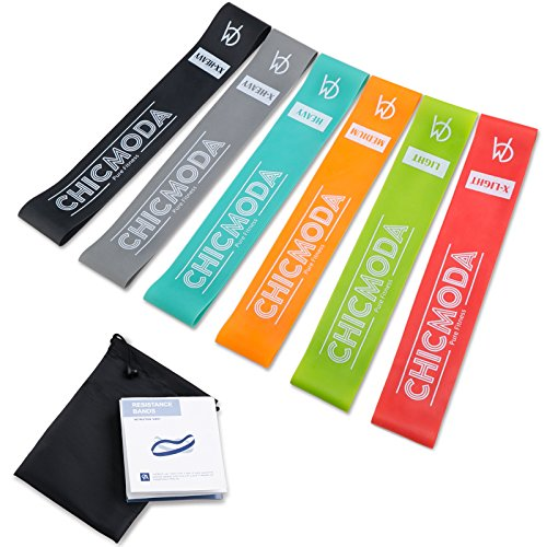 Exercise Resistance Loop Bands Set of 6, CHICMODA 100% Premium Natural Latex Workout Bands Fitness Equipment with Carry Bag for Legs Butt Arms Yoga Pilates Physical Therapy – 12″ inch