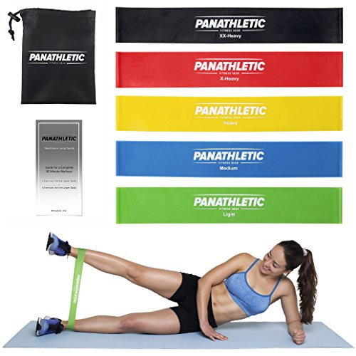 Resistance Loop Bands/Exercise Bands/Fitness Bands, Set of 5, with Exercise Guide – 5x power body band, workout bands for yoga, rehab, crossfit, strength training, pilates, calisthenics