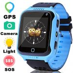 Kids Sports GPS Fitness Tracker Smart Watch Phone for Boys Girls with Touch SOS Camera Pedometer Children Smartwatch Birthday Gifts for Summer Vacation (BlueBlack)