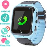 Smart Watch for Girls Boys – GPS Locator Pedometer Fitness Tracker Touch Camera Games Light Touch Anti Lost Alarm Clock Smart Watch Bracelet Compatible with iPhone Android (Blue)