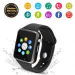 Bluetooth Smart Watch – 321OU Touchscreen Smartwatch Sport Smart Fitness Tracker Watch Smart Wrist Watch Support SIM TF Card with Camera for IOS iPhone Android Samsung LG for Kids Men Women (Black)