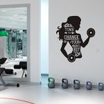YOYOYU ART HOME DECOR Girls Gym Bodubuilding Wall Decal Removable Wall Art Girls Women Inspiration Quote Its Time to Change your Body Fitness Crossfit Wall Art Sticker Mural NY-183 (BLACK, 57X70CM)