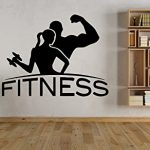 Wall Vinyl Sticker Decals Mural Room Design Pattern Fitness Girl Boy Sport Gym Dumbbell mi457