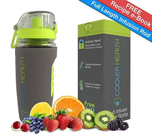 Fruit Infuser Water Bottle – FREE Infusion Recipe eBook & Anti Sweat Sleeve – 32oz – Full Starter Kit – BPA Free Plastic – Insulated – Best for Fruit Infused Water Travel Sport
