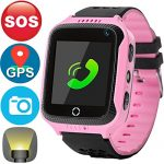 GBD Smart Watch Fitness Tracker Phone for Kids Boys Girls Birthday Holiday Gifts With GPS Pedometer SOS Touch Camera Games Anti Lost Alarm Clock Wrist Bracelet for iPhone Android Smartphone (Pink)