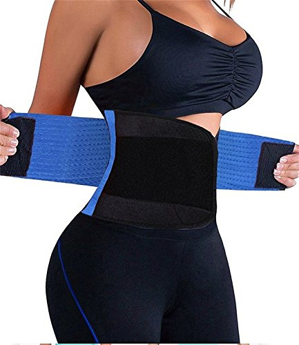 VENUZOR Waist Trainer Belt for Women – Waist Cincher Trimmer – Slimming Body Shaper Belt – Sport Girdle Belt (UP GRADED) (Blue, X-Large)