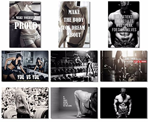 9x Poster Fabric Bodybuilding Men Girl Fitness Workout Quotes Motivational Inspiration Muscle Gym Font 20×13″ (50x33cm) (1-9)