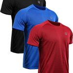 Neleus Men's 3 Pack Mesh Athletic Fitness Workout Shirts,5033,Black,Red,Blue,US L,EU XL