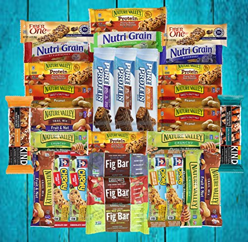 Fitness Box – Protein & Healthy Granola Bars Sampler Snack Box (30 Count) – Care Package – Gift Pack – Variety of Fitness, Energy Bars and KIND Bars.