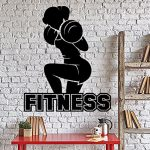 Large Wall Vinyl Decal Fitness Girl Gym Barbell Squats Bodybuilding Home Decor z4343 Black