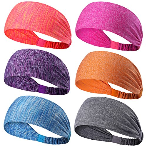 6 Pack Dreamlover Sports Headband, Women's Yoga Athletic Hairband, Men's Sweatband, Working out Sports Headband for Running, Travel and Fitness, Lightweight Wicking Elastic Sports Headband