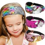 Sequin Headbands, Beinou Mermaid Reversible Sequins Headband Elastic Stretch Sparkly Glitter Fashion Headbands – Non Slip Velvet Lined Sports Fitness Head Band for Girls and Women Pack of 3