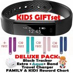Fitness tracker for Kids Women Men | Smart Watch 2 Wrist Bands for iOS Android | Bluetooth Pedometer Activity Tracker Step Counter Sleep Monitor Tracker+Charger+Chart+Black+Color Band (Deluxe Aqua)