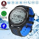 Duperym Waterproof Sport Smart Watch, IP68 Bluetooth Smart Watch Fitness Tracker Men Women Wrist Wearable Watch Gift for Boy Girl Sports Outdoors Activity Pedometer Calorie Stopwatches (Blue Black)