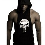 GZXISI Mens Skull Print Stringer Bodybuilding Gym Tank Tops Workout Fitness Vest (Medium, Black Hoodie)