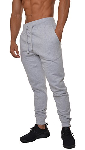 YoungLA Mens Slim Fit Joggers Fitness Activewear Sports Fleece Sweatpants For Gym Training Gray X-Large