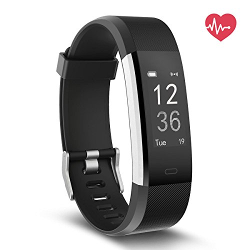 Delvfire Fitness Tracker HR, Activity Tracker with Heart Rate Monitor Watch, IP67 Waterproof Smart Wristband with Calorie Counter Watch Pedometer Sleep Monitor for Kids Women Men (Black)