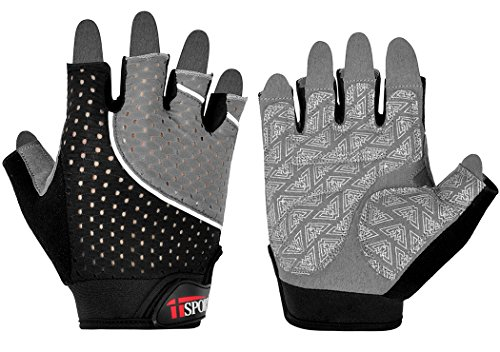 iiSPORT Weight Lifting Gloves for Women & Men, Workout Gym Fitness Cross Gloves Gray,Large