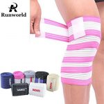 Runworld (1 Pair) Elastic Breathable Knee Brace Compression Bandage Wraps Pain Relief Straps Support Wraps Sleeve for Men Women Cross Training WODs,Gym Workout,Fitness & Powerlifting (Rose/White)