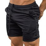 EVERWORTH Men's Gym Workout Boxing Shorts Running Short Pants Fitted Training Bodybuilding Jogger Short Black L Tag XXL
