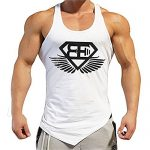 EVERWORTH Men Muscle Fitness Gym Stringer Tank Tops Bodybuilding Workout Sleeveless Shirts (White, US MEDIUM(Tag XL))